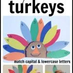 Alphabet Turkeys 150x150 Clothespin Capital & Lowercase Matching Activity