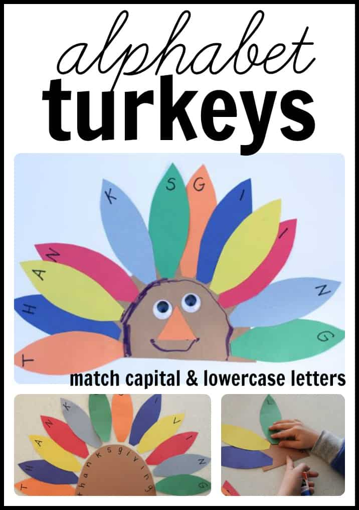 alphabet turkeys match capital and lowercase letters