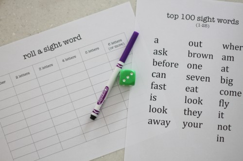 Roll a Sight Word 500x333 Sight Word Activities for Kids