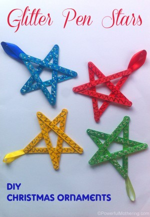Easy christmas ornaments for kids glitter stars 300x433 Show and Share Saturday Link Up!