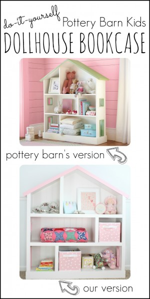 DIY Pottery Barn Kids Dollhouse Bookcase 300x597 DIY Dollhouse Bookcase
