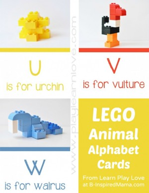 LEGO Animal Kids Alphabet Cards at B Inspired Mama 300x388 Show and Share Saturday Link Up!