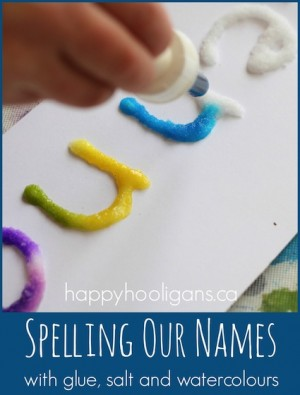 Spelling Names with Glue Salt and Watercolors