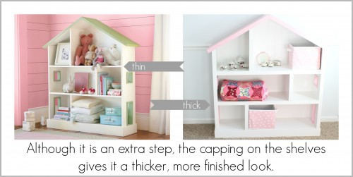 capping on shelves 500x251 DIY Dollhouse Bookcase