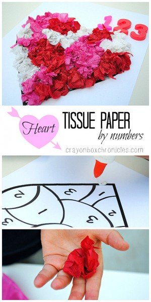 tissue paper heart craft by numbers 300x600 Show and Share Saturday Link Up!
