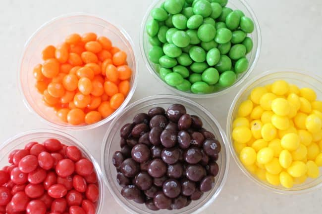 sorting skittles into colors