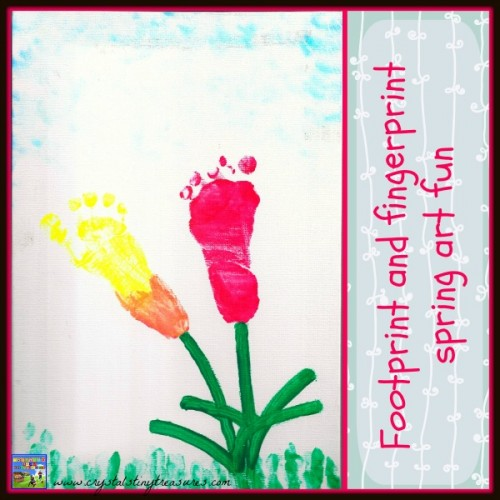 Footprint and fingerprint spring art fun 500x500 Show and Share Saturday Link Up!
