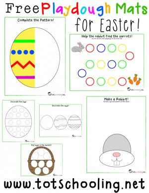 Free Playdough Mats for Easter 300x390 Show and Share Saturday Link Up!