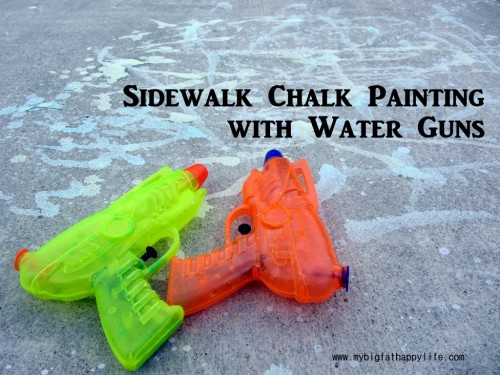 Sidewalk Chalk Painting with Water Guns