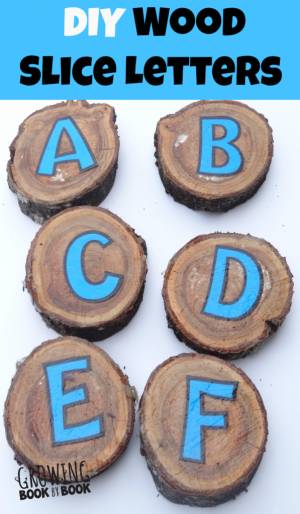 DIY Wood Slice Letters 300x514 Show and Share Saturday Link Up!