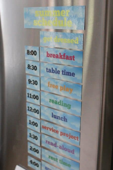 our summer schedule printed and laminated on the fridge