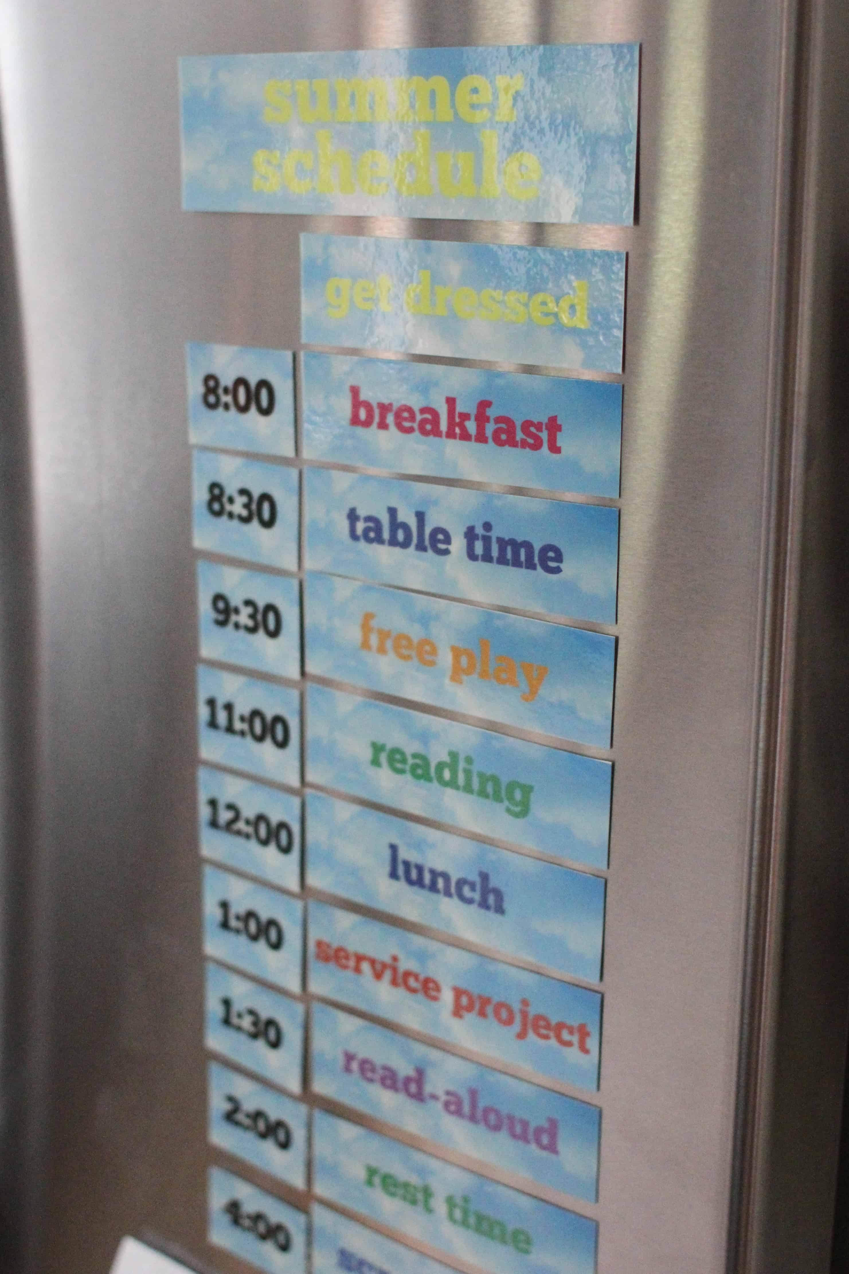 Printable Summer Schedule -