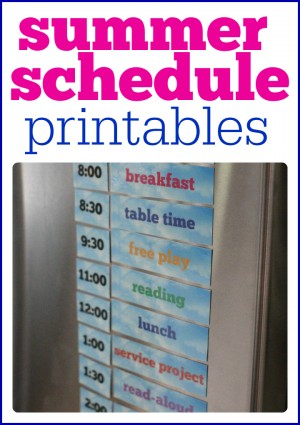 Summer Schedule Printables- print out and put on refrigerator to help organize your summer days!