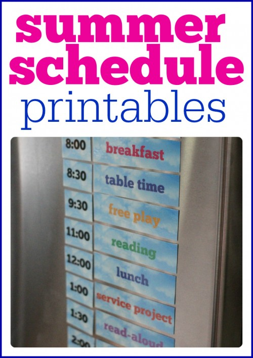 Summer Schedule Printables print out and put on refrigerator to help organize your summer days  500x708 Printable Summer Schedule for Your Refrigerator (just add magnets)