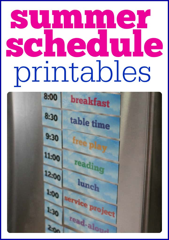 summer schedule for kids to print