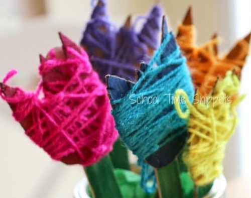 Yarn Wrapped Tulips 500x394 Show and Share Saturday Link Up!