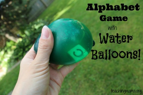 Alphabet Game with Water Balloons 500x333 12 Ways to Learn with Water Balloons
