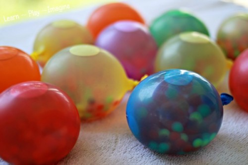 Frozen Water Beads in Water Balloons 500x333 12 Ways to Learn with Water Balloons