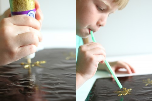Painting Fireworks with Straws