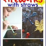 Painting Fireworks with Straws for the 4th of July