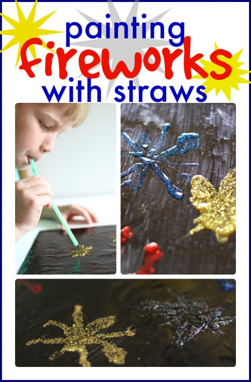 Painting Fireworks with Straws for the 4th of July 500x761 Painting Fireworks with Straws