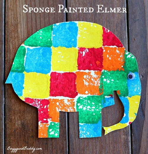 Sponge Painted Elmer 500x522 Show and Share Saturday Link Up!