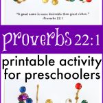 Proverbs 22 1 Activity for Preschoolers A good name is more desirable than great riches with free printable 150x150 Building Solomons Temple with Golden Blocks