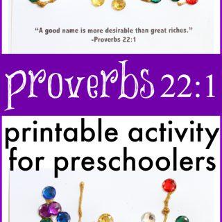 Proverbs 22:1 Activity for Preschoolers