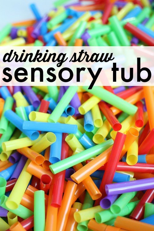 Sensory Tub with Drinking Straws!