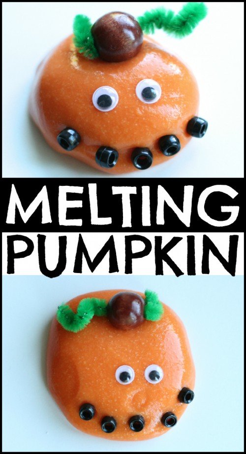 Melting Pumpkin with Homemade Silly Putty 500x921 Silly Putty Melting Jack O Lantern