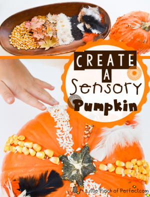Sensory Pumpkin Craft title 2 tall 300x395 Show and Share Saturday Link Up