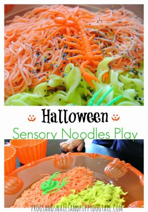 halloween sensory noodle play activity for kids 300x428 Show and Share Saturday Link Up