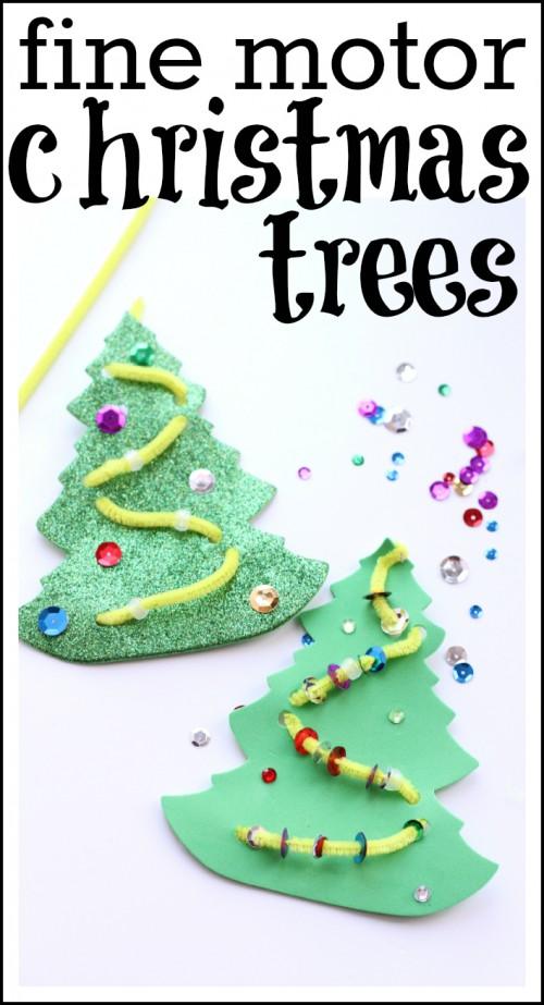 Fine motor christmas trees