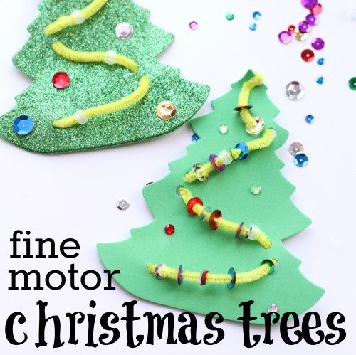 square fine motor christmas trees