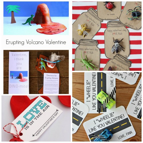 Erupting Volcano, Heart Balloon, Bugs, and Car Valentines
