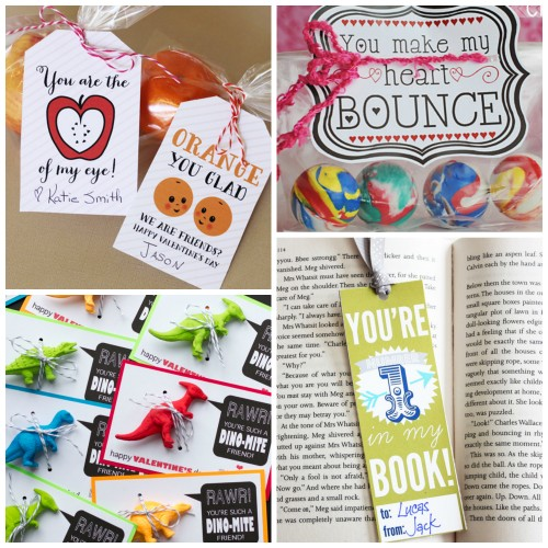 Fruit Applesauce, Bouncy Ball Valentine, Dinosaur Valentine, Bookmark Valentine