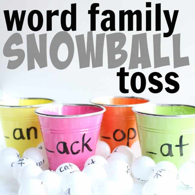 Word Family snowball toss square - word families