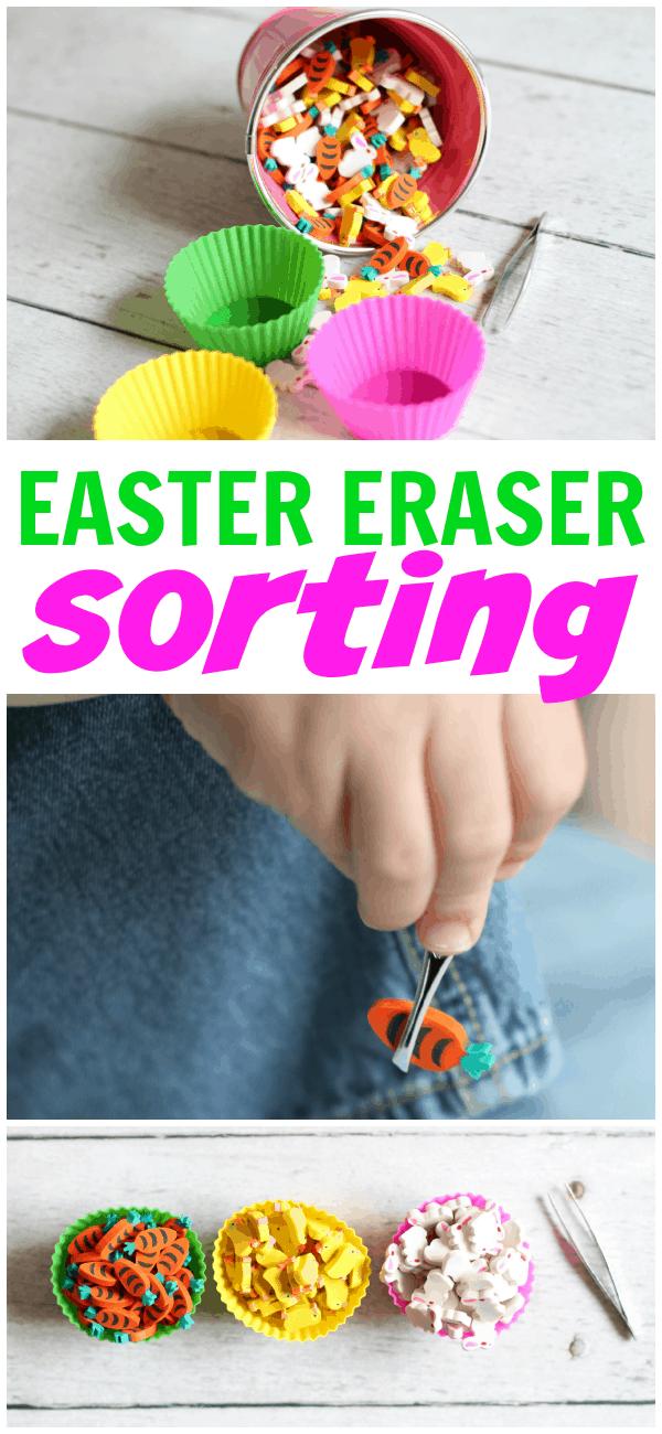 Easter Eraser Sorting with Tweezers
