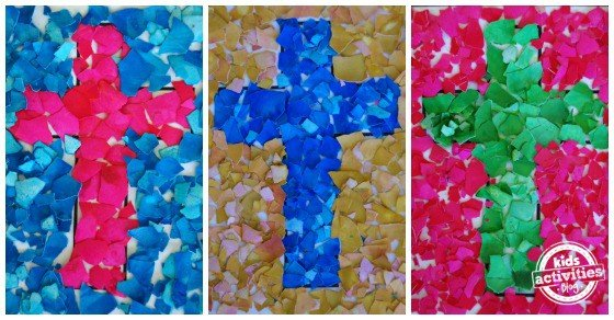 easter-craft-egg-shell-mosaic-cross