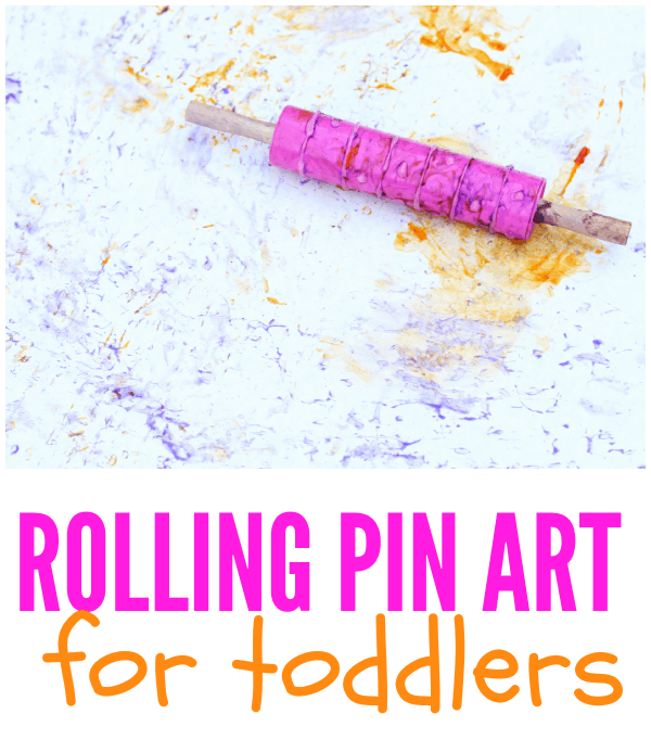Big Art for Toddlers using a rolling pin