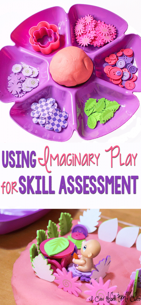 Using play dough for imaginary play can be a great way to assess skills your children have mastered.