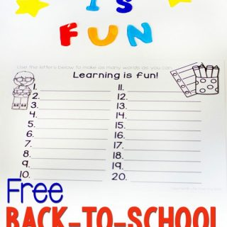 Free Back to School Word Building Activity