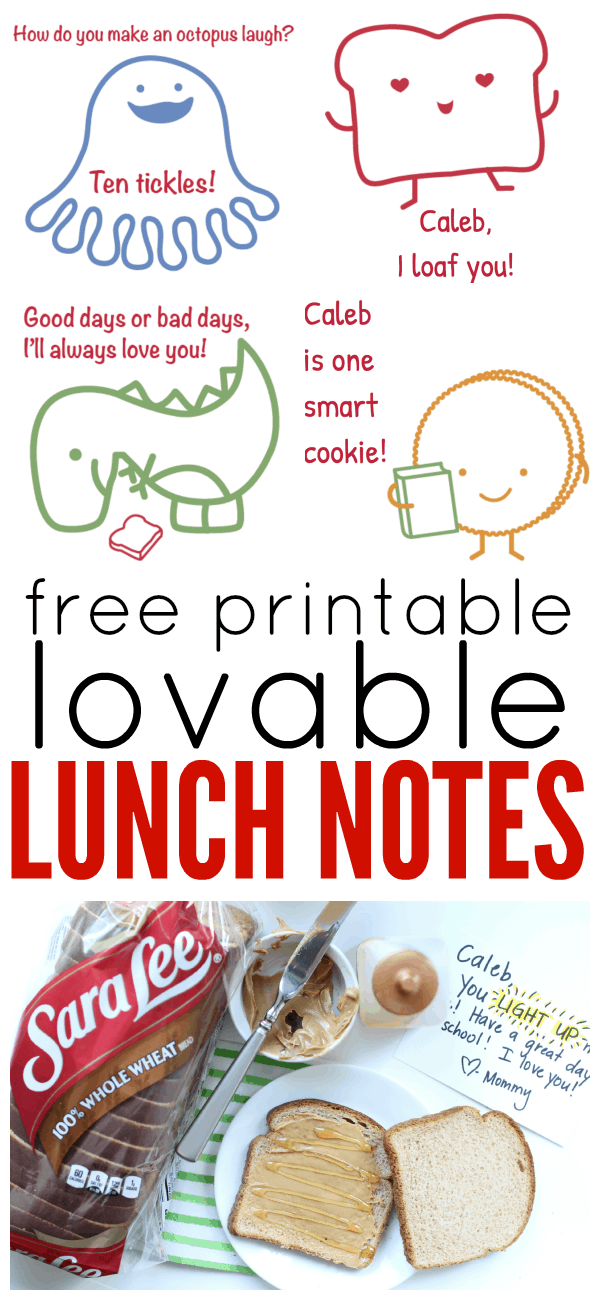 Free Printable Lovable Lunch Notes from Sara Lee® Bread