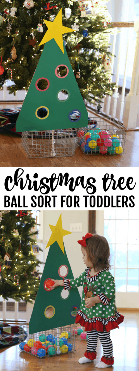 Christmas Tree Ball Sorting Activity For Toddlers