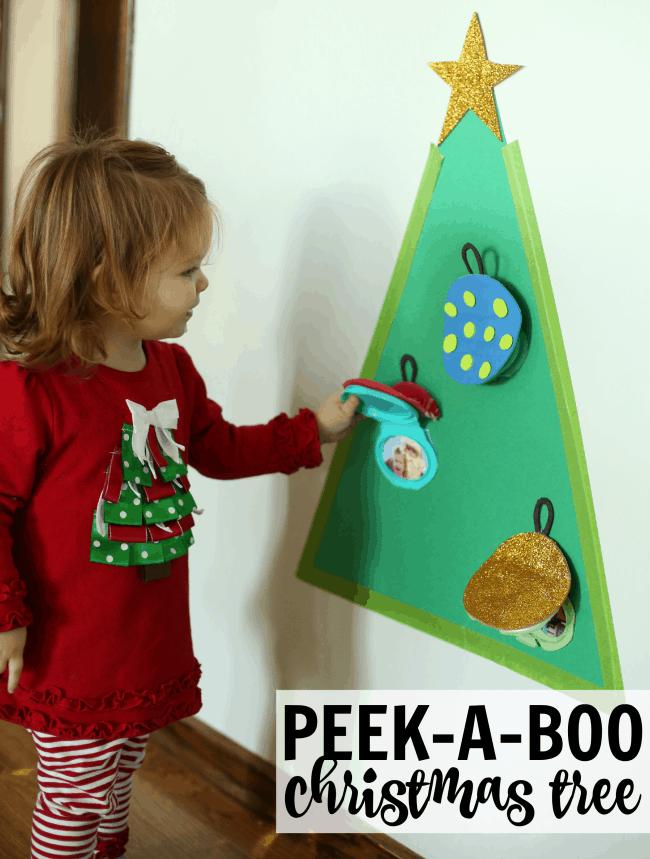 Peek-a-Boo Christmas Tree Square