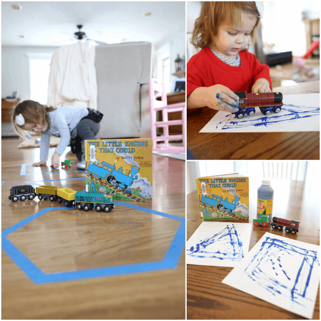 Tracing Shapes with Trains 2 different ways after reading The Little Engine that Could