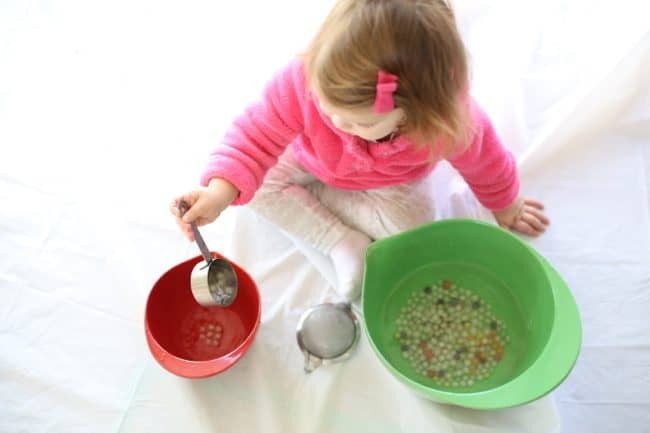 Scooping and Pouring with Edible Water Beads