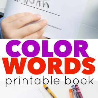 Color Words Printable Book for Valentine's Day
