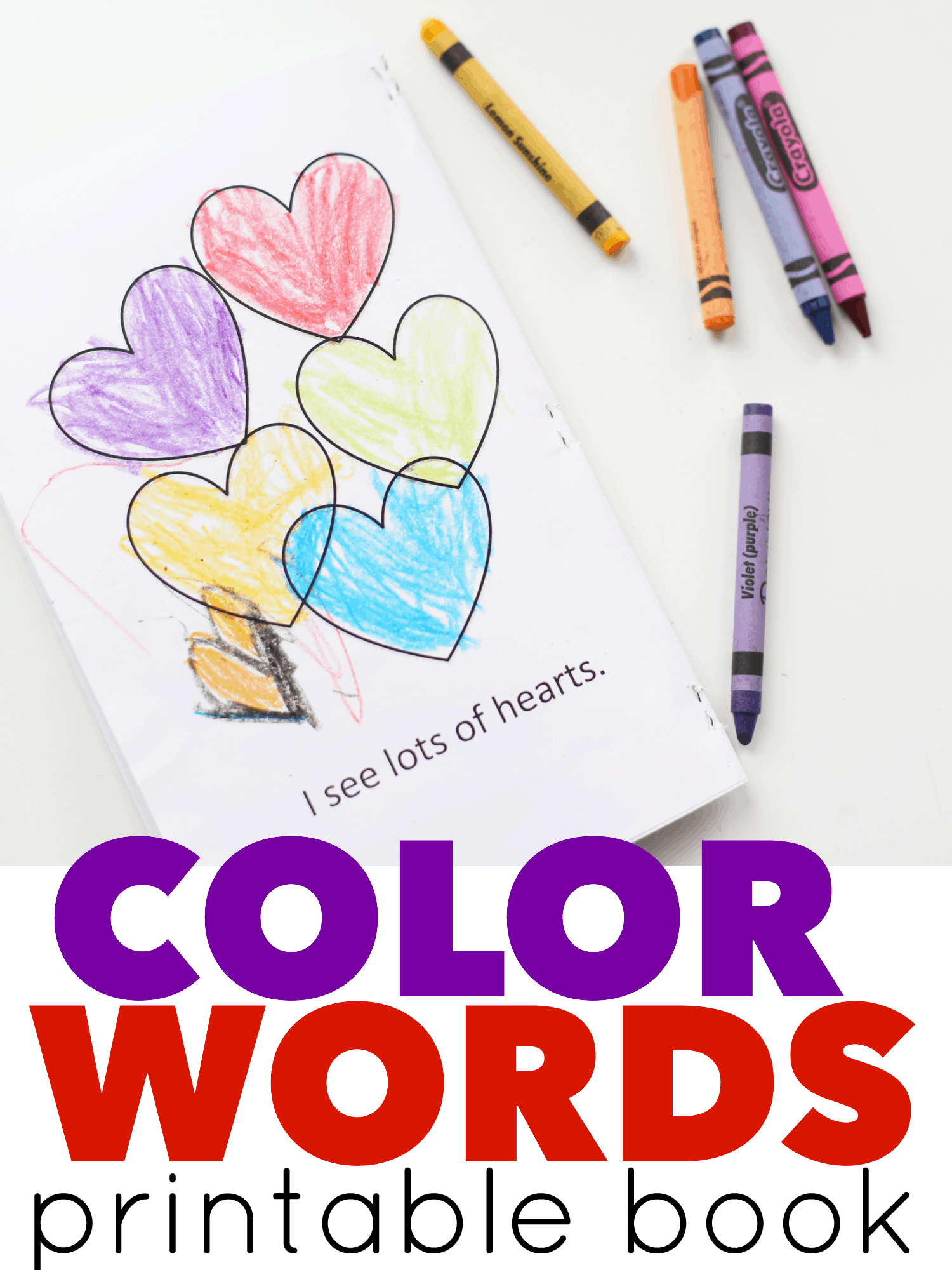 graphic regarding Color Words Printable named Colour Text Printable Ebook for Valentines Working day - I Can Educate