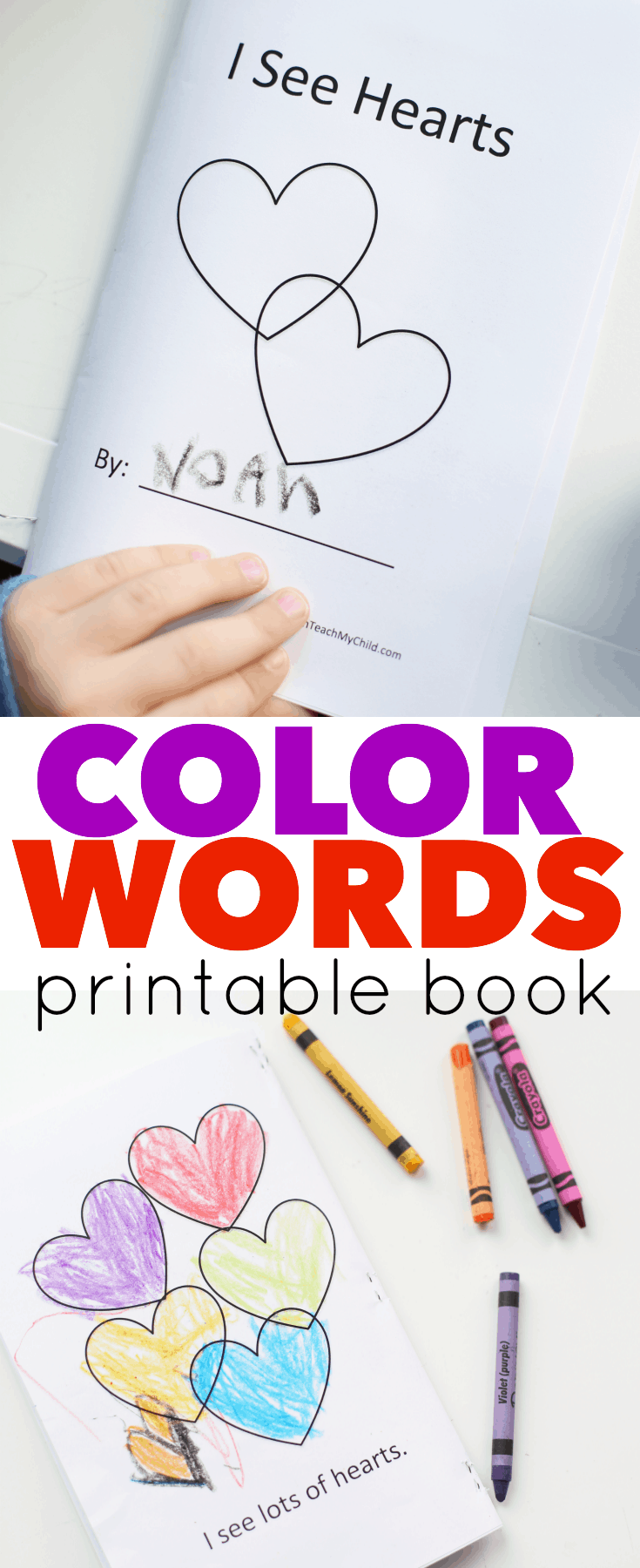 photograph about Color Words Printable called Shade Words and phrases Printable E book for Valentines Working day - I Can Coach